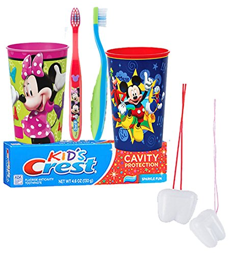 "Mickey Mouse & Minnie Mouse Inspired 5pc. Bright Smile Oral Hygiene Set! Soft Manual Toothbrush, Crest Kids Sparkle Toothpaste & Mouthwash Rise Cup! Plus Bonus ""Remember to Brush"" Visual Aid!"