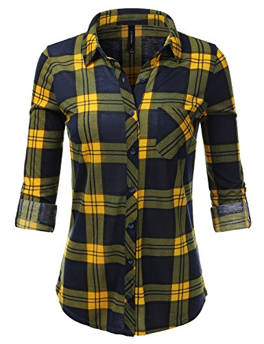 JJ Perfection Womens Long Sleeve Plaids Buttoned Casual Button Up Flannel Shirt NAVYMUSTARD (Plaid Sheer)