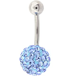 Light Blue Single Crystal Belly Button Navel Ring Bling 14G Surgical Steel Body Piercing Jewelry