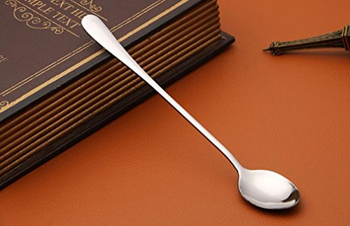 10 Pack Magik Long Handle Stainless Steel Mixing Ice Cream Frozen Yogurt Coffee Spoon Set (Long Handle - Oval) by Magik (Image #2)
