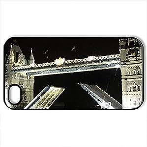 london_bridge - Case Cover for iPhone 4 and 4s (Bridges Series, Watercolor style, Black)