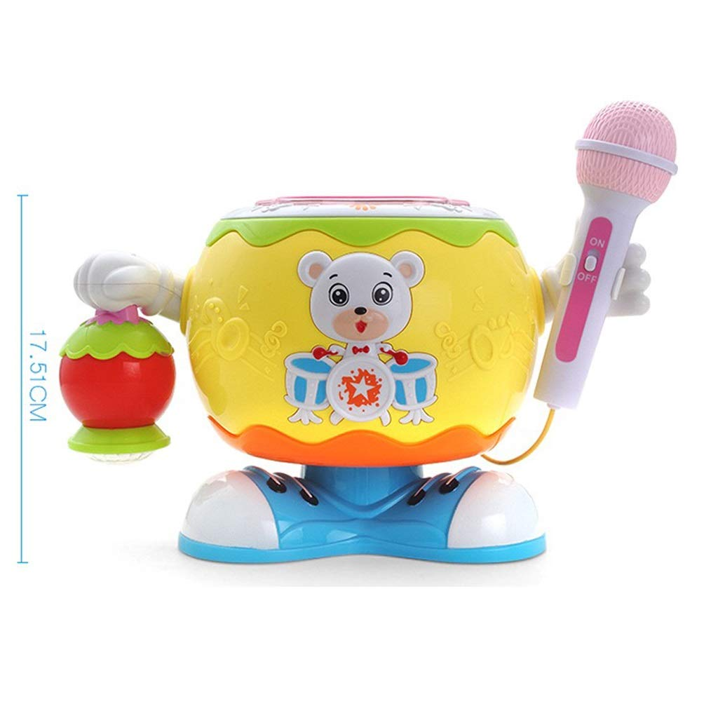 LIPENG-TOY Children's Educational Multi-Function Rotating Music Drummer Drums pat Drums with Microphone Baby Sound and Light Lantern Toys (Color : Orange)
