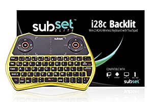 Subset i28c Gold Chrome - 2.4GHz Mini Wireless Keyboard with Touchpad Mouse, LED Backlit, Rechargable Li-ion Battery, Raspberry Pi, OSX, Linux, HTPC, IPTV, Google Android TV Box, Windows