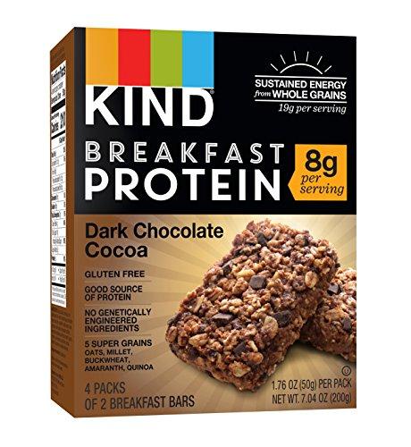 KIND Breakfast Protein Bars, Dark Chocolate Cocoa, Gluten Free, Non GMO, 1.76oz, 32 Count Breakfast Cocoa