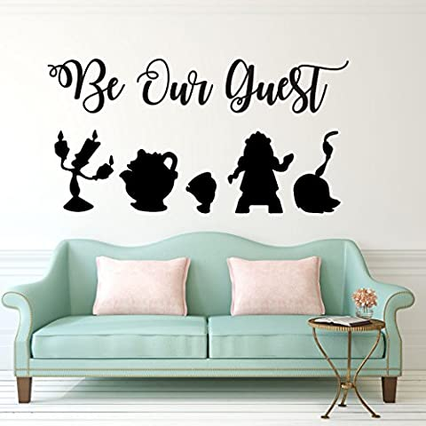 Be Our Guest Wall Decal - Beauty and the Beast - Lumiere, Mrs Potts, Chip, Cogsworth And (Beauty Beast Decal)