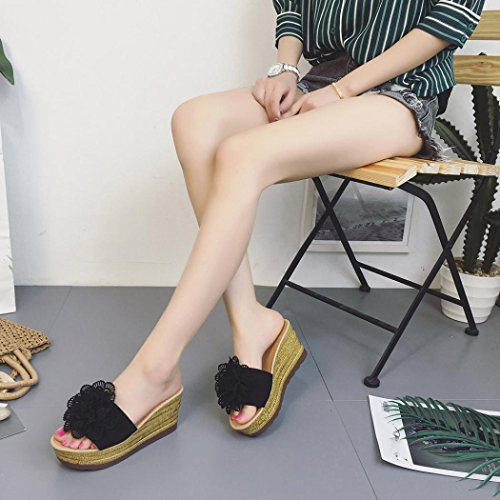 Compensees de Fleurs Chaussures Oyedens Hauts Sandales Femme Plates Plates à Pantoufles Sandales Talons Plateforme Sandales Femmes Femme Noir à Chaussures Wedges Plage HWw6H7fqrn