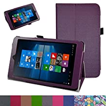 "iRULU Walknbook 3Mini Case,Mama Mouth PU Leather Folio 2-folding Stand Cover for 8"" iRULU Walknbook 3Mini / 8 Inch Windows 10 Tablet,Purple"