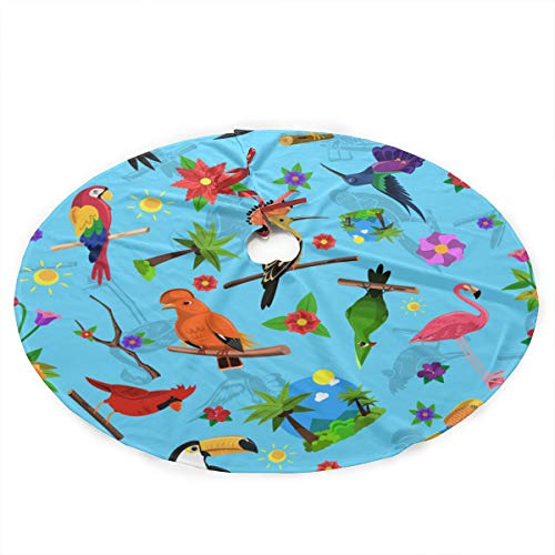 (Christmas Tree Skirt Mat Woodpecker Flamingo Bird Print Christmas Holiday Party Decoration)