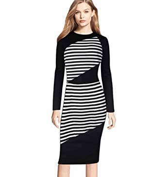 a6952b07f84 QIQIU Stripe Slim Fit Dresses