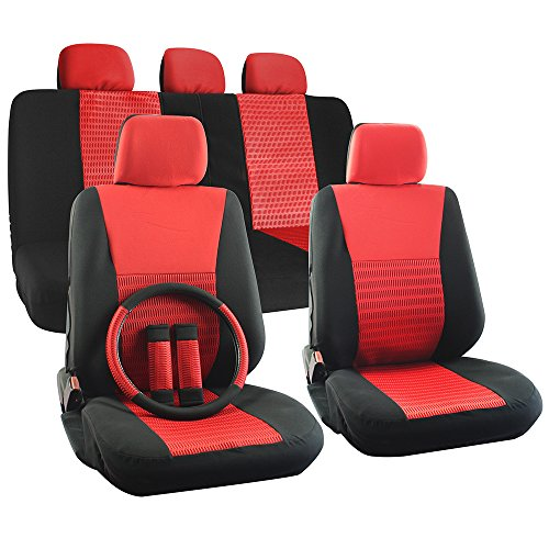 OxGord 17pc Set Flat Cloth Mesh Red & Black Wide Stripe Seat Covers Set - Airbag Compatible - Front Low Back Buckets - 50/50 or 60/40 Rear Split Bench - 5 Head Rests - Universal Fit for Car, Truck, Suv, or Van - FREE Steering Wheel Cover (Hummer Seat Covers H3 compare prices)