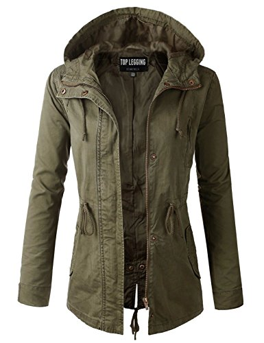 - TOP LEGGING TL Women's Militray Anorak Parka Hoodie jackets with Drawstring OLIVE LARGE