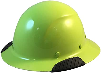 Texas America Safety Company Actual Carbon Fiber Material Hard Hat with  Hard Hat Tote- Full Brim, Hi Viz Lime