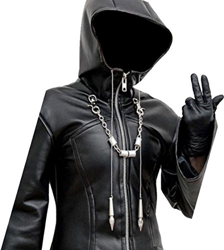 Finest Collections Enigma Hooded Black Leather Trench Coat - Organization XIII Jacket (XL, Black) by Finest Collections (Image #3)