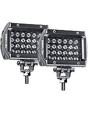 LED Pods MICTUNING Unlimited-GO K1 2Pcs 4 Inch Quad Row Off Road Combo LED Light Bar 1920lm Driving Fog Lamps for Jeep SUV ATV UTV Truck Boat