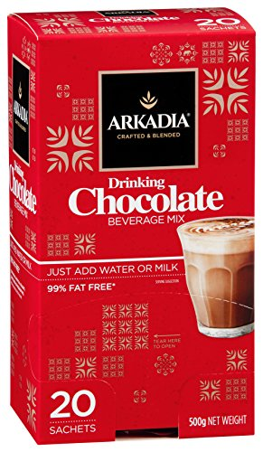 ARKADIA Beverages Drinking Chocolate Powder With 24% Cocoa (20 Sachets - 25g) | Rich, Creamy & Smooth Texture For Cold, Hot, & Mocha Drinks, Desserts | Boost Memory and Immunity & Increase Metabolism