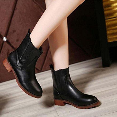 Martin Áspero Tendón Con Mujer En Black Salvajes Modelos Cortas Planas De Corto Botas Moda Zapatos Extremo Meili Tubo El Ocio qvY6v