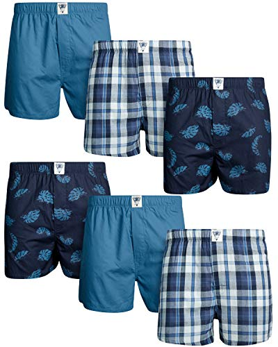 Lucky Brand Men's Woven Cotton Boxer with Functional Fly (6 Pack), Indigo Plaid/Blue/Navy Space Print, Size X-Large'