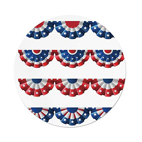 iPrint Polyester Round Tablecloth,American Flag Decor,Flag Round Bunting Election Ornament Politic Union Ribbon Event Pattern,Blue Red,Dining Room Kitchen Picnic Table Cloth Cover,for Outdoor Indoor -