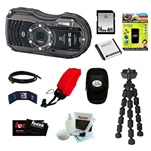 Pentax WG-3 16MP Waterproof Digital Camera (Black) + 16GB SD Card + Rechargeable Lithium Replacement Battery for Olympus + 7-inch Mini Flexible Spider Tripod + Accessories