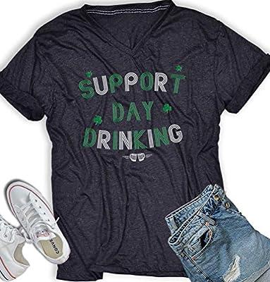 AllBirthDayGift Support Day Drinking Tshirt St Patricks Day Women Irish Funny Drinking Shirts Men V Neck T Shirt Dark Heather