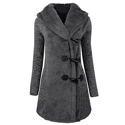 Culater Mujeres Moda Invierno Gruesos Botones Cálidos Abrigo Parka Hoodie Outwear Gris