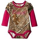 Carhartt Baby Girls' Camo Layered Sleeve Bodyshirt, Dark Brown, 3 Months