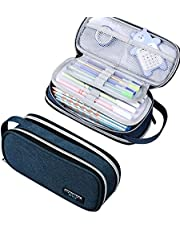 Large Capacity Pencil Case,Stationery Cosmetic Storage Washable Handheld portable Pen Bag Multiple Compartment Pouch Double Zipper Box Organizer for Middle High School Office College Student Teen Adult