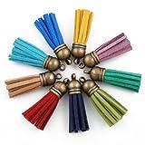 50PCS 3.5CM Mixed Colors Tassel Fiber Tassel Fringe Tassel with 10MM Antique Bronze Caps Charms