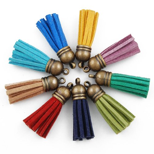 50PCS 3.5CM Mixed Colors Tassel Fiber Tassel Fringe Tassel with 10MM Antique Bronze Caps Charms by Rosebeading