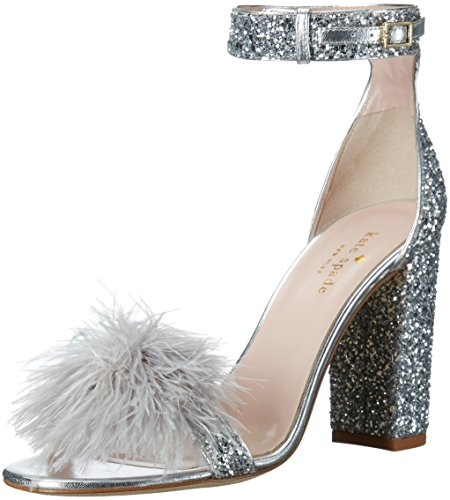 kate spade new york Women's Ilona Heeled Sandal, Silver, 5.5 M US by Kate Spade New York