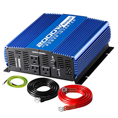 Kinverch 2000W Continuous 4000W Peak Power Inverter 3 AC Outlets 12V to 110V Car Converter