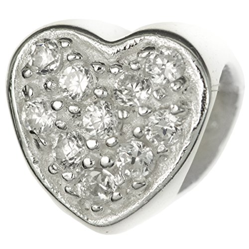 925 Sterling Silver Heart Love Clear Cz Crystal April Birthday Bead For European Charm Bracelets