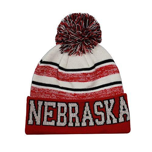 - Nebraska Men's Blended Stripe Winter Knit Pom Beanie Hat (Red/White)