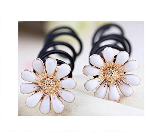 6 Pieces Small Daisy Spiral Hair Pin Screw Hair Pin (White)