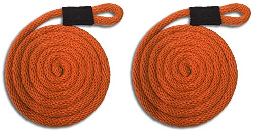 Orange Nylon Fender Line - 3/8'' x 5' - Sold in Pairs - Made in USA by Mad Dog