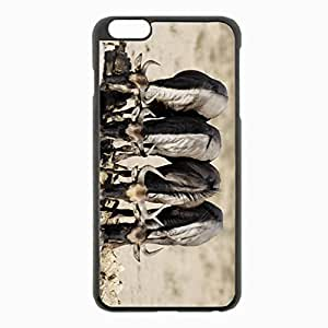 iPhone 6 Plus Black Hardshell Case 5.5inch - buffaloes watering horn Desin Images Protector Back Cover