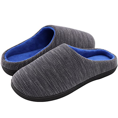 RockDove Men's Birdseye Knit Memory Foam Slipper, Size 11-12 US Men, Heathered Gray/Blue