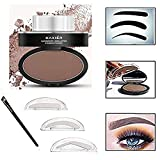 Taipo 3 Stencils Waterproof Eye Brow Stamp Perfect Eyebrow Power Seal Nature Delicate Shape Makeup Fashion Unique Brow Powder for Eyebrows Beginners Busy People (Dark Brown)