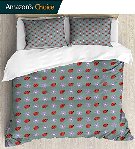 (Ladybugs Modern Pattern Printed Duvet Cover,Bugs and Flower Pattern Flora and Fauna Design Diagonal Lilacs and Beetle Ornament Soft Microfiber Bedspread Coverlet Bedding 80
