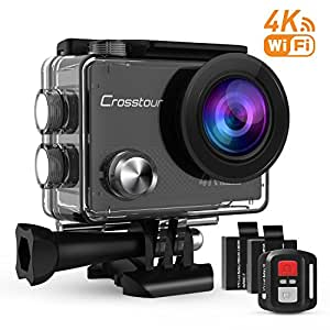 Crosstour Action Camera 4K Ultra HD WIFI Underwater Remote Control 30m Waterproof Camera 170°Wide-angle 2 Inch LCD Plus 2 Rechargeable 1050mAh Batteries and 18 Mounting Accessories