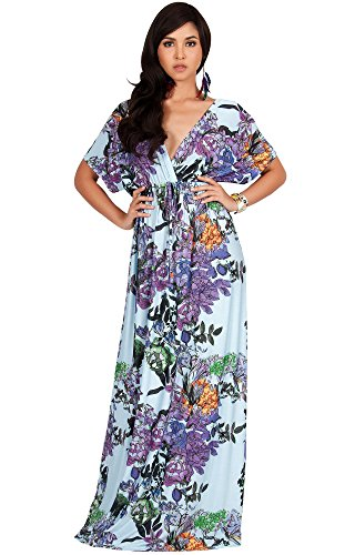 KOH KOH Plus Size Women Long Kimono Sleeve Short Sleeves V-Neck Vintage Floral Print Summer Hawaiian Casual Cocktail Sundress Sun Gown Gowns Maxi Dresses, Sky Blue and Purple XL 14-16