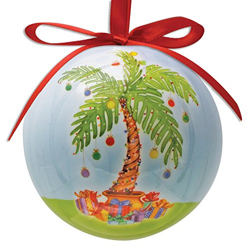 (Palm Tree Ball Christmas Ornament, Palm Tree Decorated with Ornaments and Gifts Underneath)