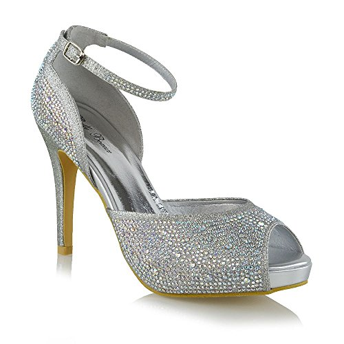 516394a43d3 Essex Glam Womens High Heel Platform Bridal Peep Toe Court Shoes Glitter  Rhinestone Sparkly Ankle Strap