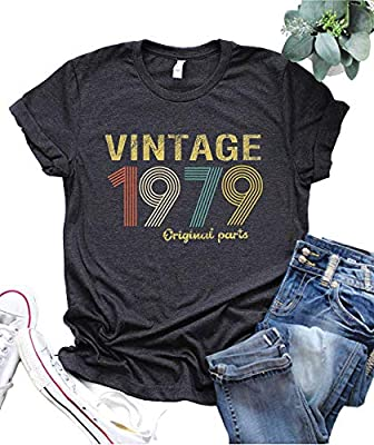 40th Birthday Gift Womens T Shirt Retro Birthday Party Vintage 1979 Original Parts Cute Funny Summer Casual Music Tees Tops