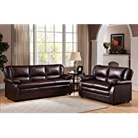 Kings Brand Furniture Vinyl Upholstered Living Room Set (Brown, Sofa & Loveseat)