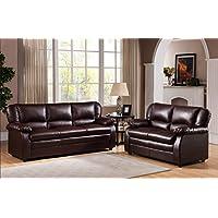 Kings Brand Furniture Vinyl Upholstered Living Room Set (Brown, Sofa & Loveseat)