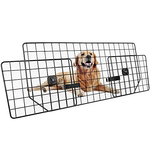 (Dog Car Barrier for SUVs, Van, Vehicles - Adjustable Large Pet SUV Barriers Universal-Fit, Heavy-Duty Wire Mesh Dog Car Guard, SUV Pet Car Gate for Vehicles, Safety Car Divider for Dogs, Smooth Design)