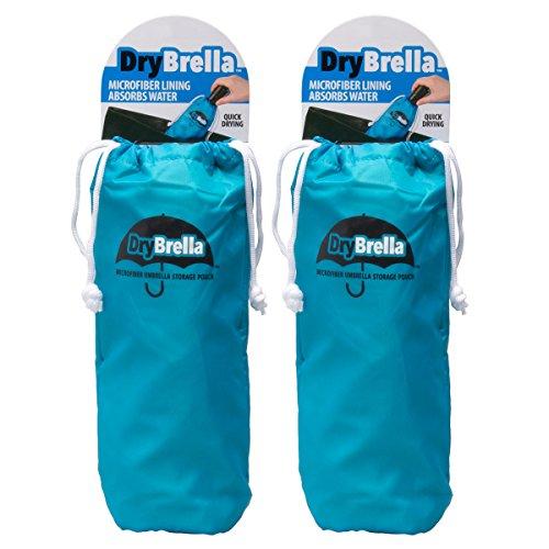 (Drybrella (2 Pack) Microfiber Umbrella Storage Pouch Set Moisture Absorber for Travel Accessories)