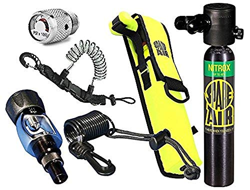 Spare Air New 3.0CF Nitrox Package for Scuba Divers with Dial Gauge Upgrade, Fill Adapter, Holster, Leash, and Free Quick Release Coil Lanyard ($15.95 Value) - Value Lanyard