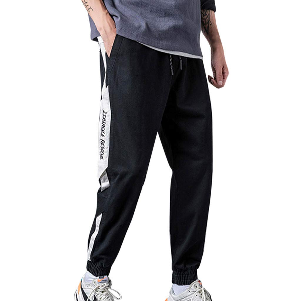Alalaso Men's Cotton Knit Jogger Lounge Pants with Drawstring Black
